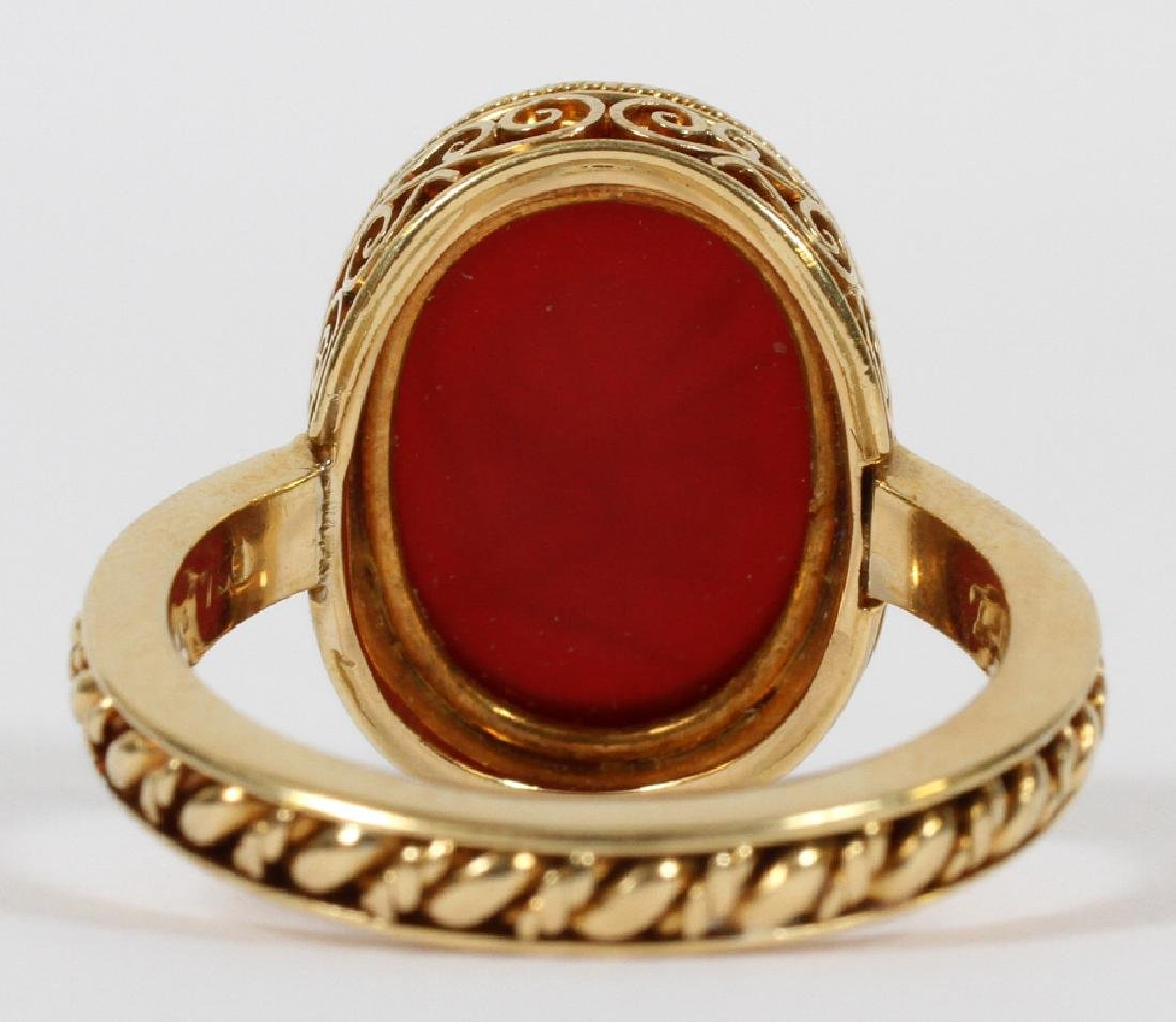 MANS 18KT YELLOW GOLD RING WITH RED INTAGLIO - 5