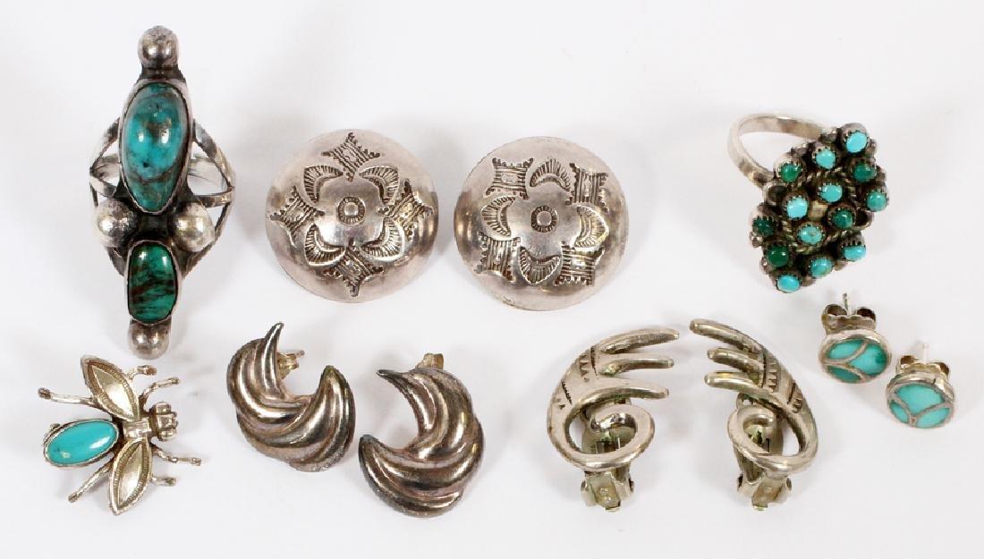 STERLING & TURQUOISE RINGS PIN & EARRINGS