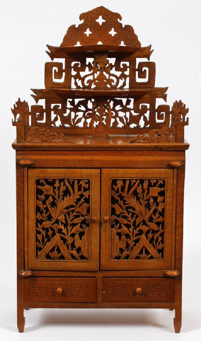 ASIAN CARVED WOOD TABLE TOP JEWELRY CHEST