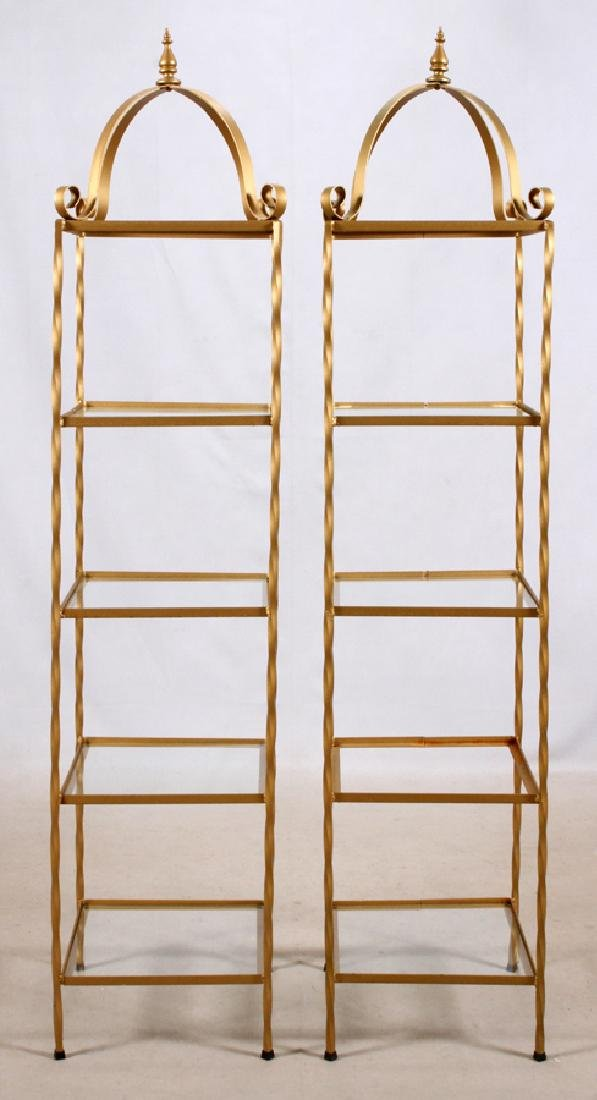 GILT IRONS AND GLASS SHELVES, PAIR