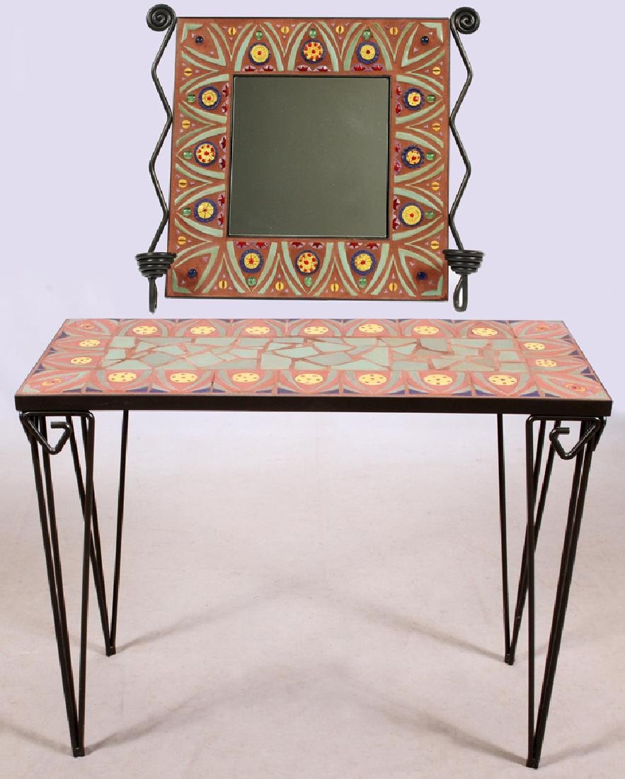 IRON AND TILE CONSOLE TABLE AND MIRROR, 2 PIECES