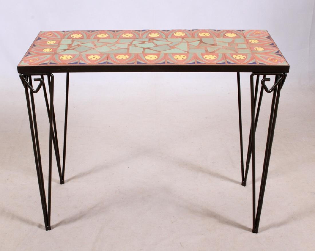 IRON AND TILE CONSOLE TABLE AND MIRROR, 2 PIECES - 2