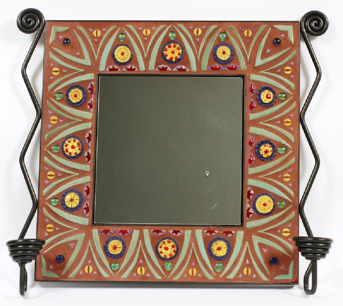 IRON AND TILE CONSOLE TABLE AND MIRROR, 2 PIECES - 4