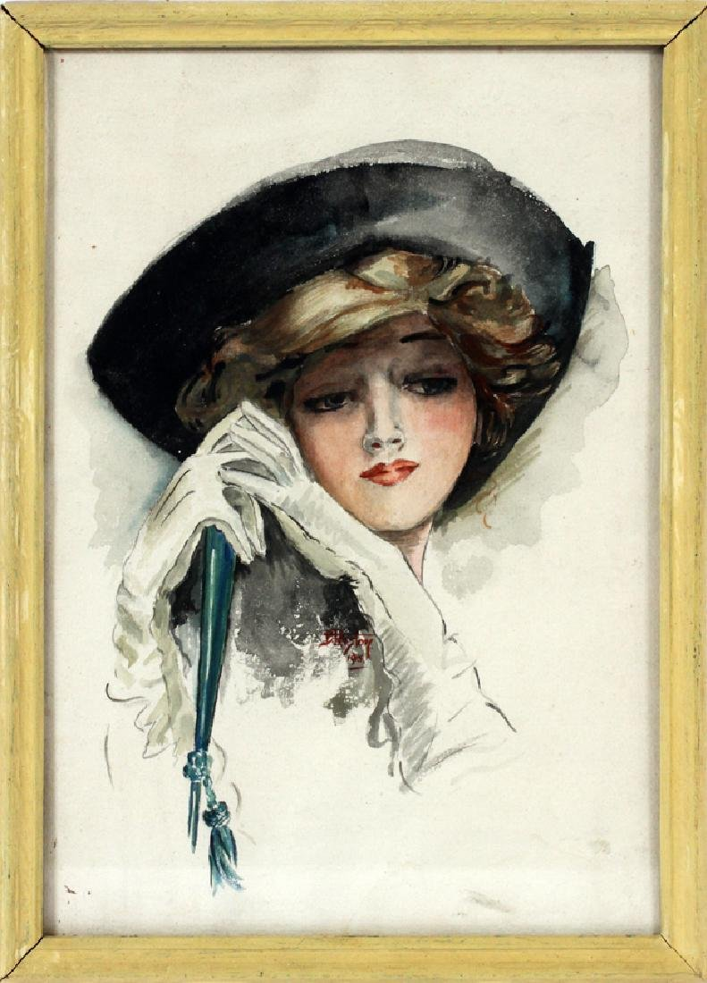 "D. PRESTON WATERCOLOR, 1915 ""LADY WITH FAN"""