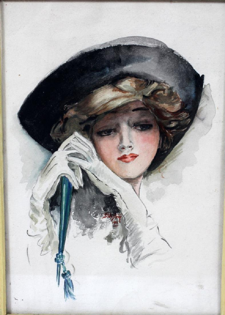 "D. PRESTON WATERCOLOR, 1915 ""LADY WITH FAN"" - 2"
