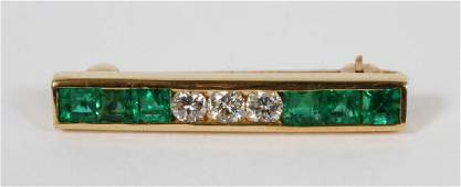 TIFFANY AND CO 18KT, EMERALD AND DIAMOND BROOCH