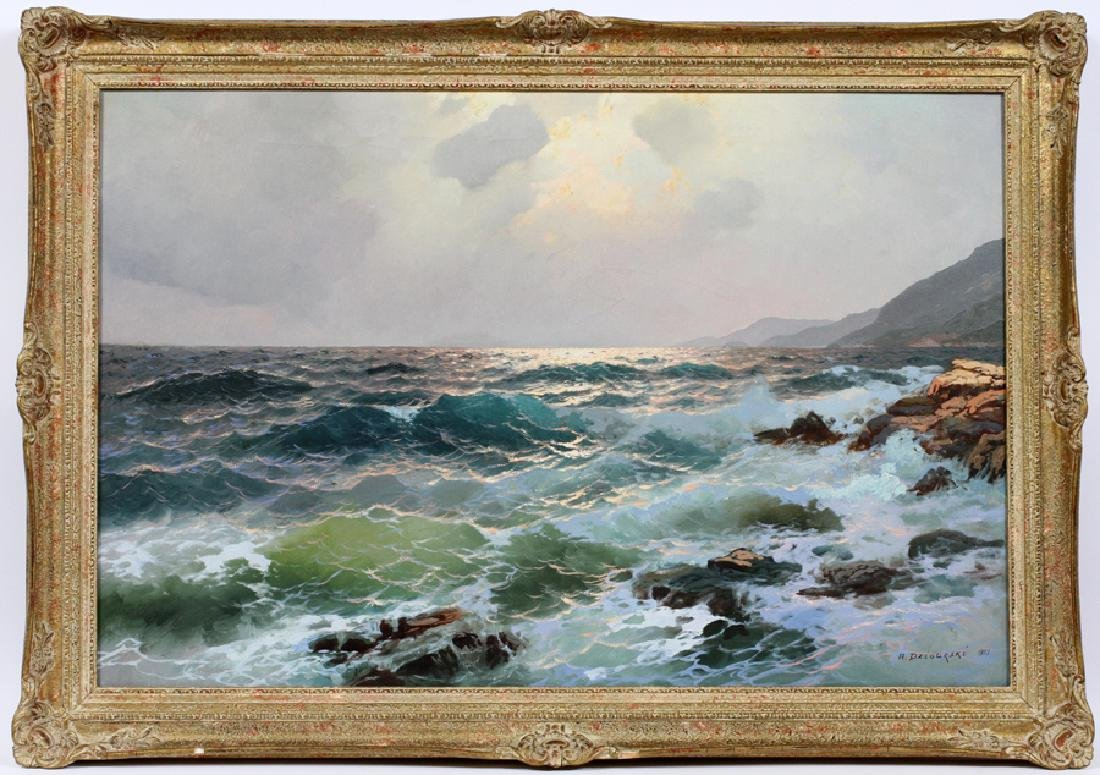 ALEX DZIGURSKI OIL ON CANVAS, 1951 SEASCAPE