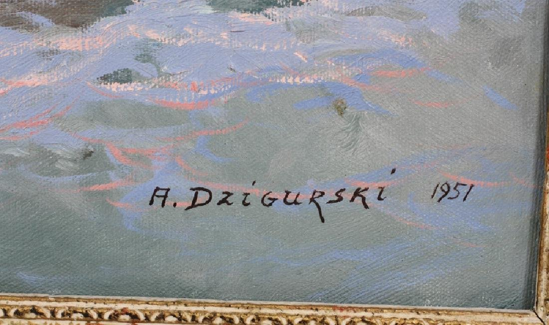 ALEX DZIGURSKI OIL ON CANVAS, 1951 SEASCAPE - 4