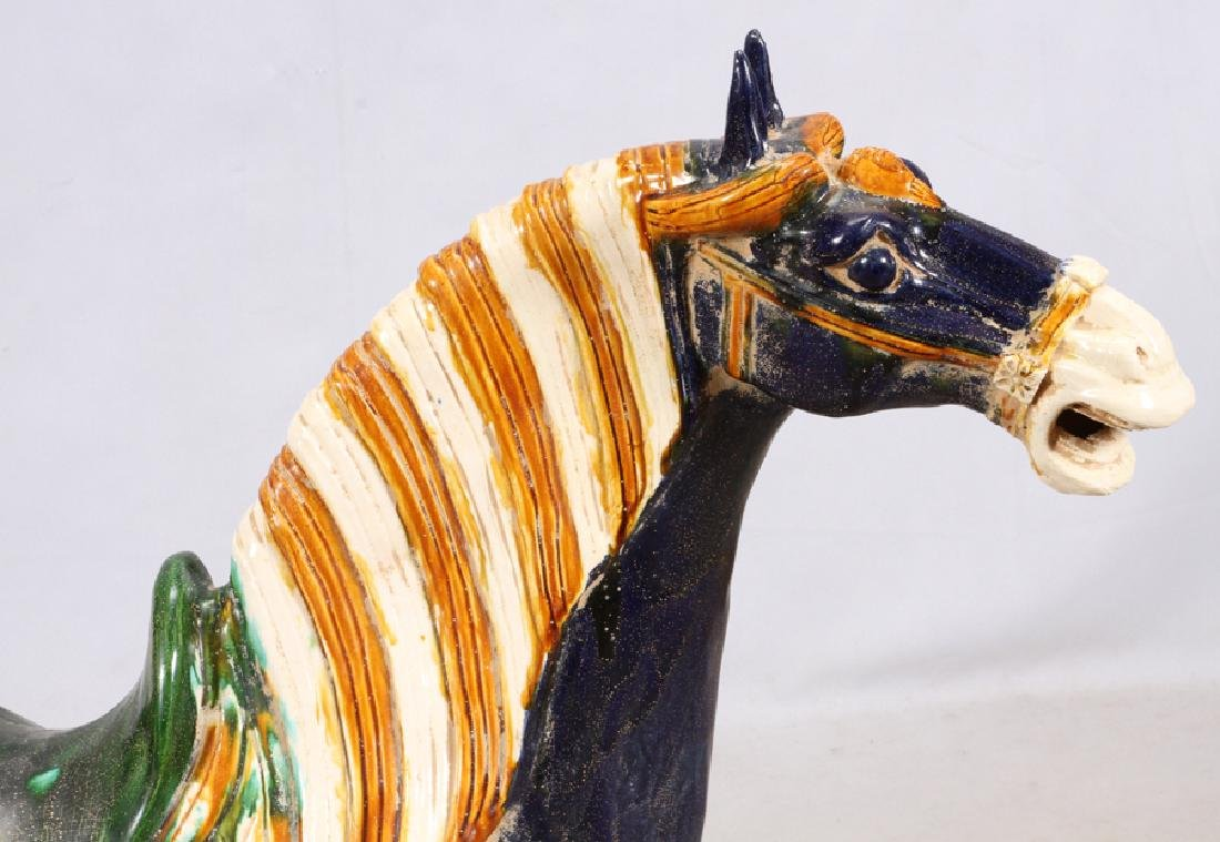 "CHINESE TANG POTTERY HORSE, H 41.5"", L 37"", D 12"" - 2"