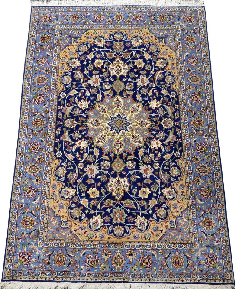 PERSIAN ISFAHAN FINELY WOVEN SILK AND WOOL RUG
