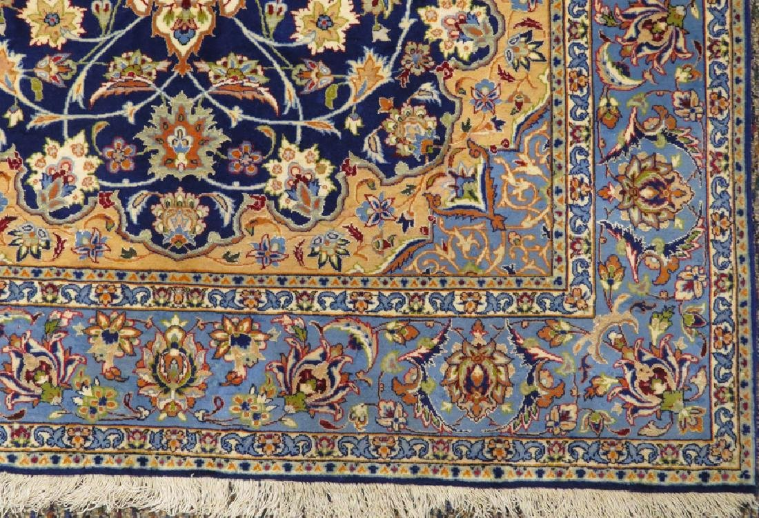 PERSIAN ISFAHAN FINELY WOVEN SILK AND WOOL RUG - 2