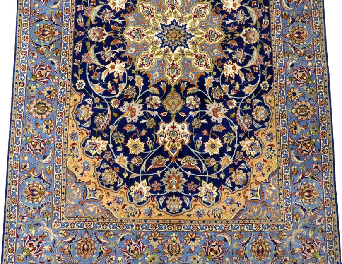 PERSIAN ISFAHAN FINELY WOVEN SILK AND WOOL RUG - 3