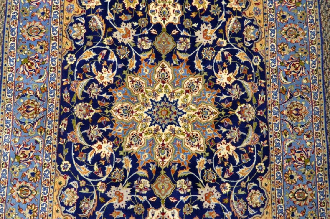 PERSIAN ISFAHAN FINELY WOVEN SILK AND WOOL RUG - 4
