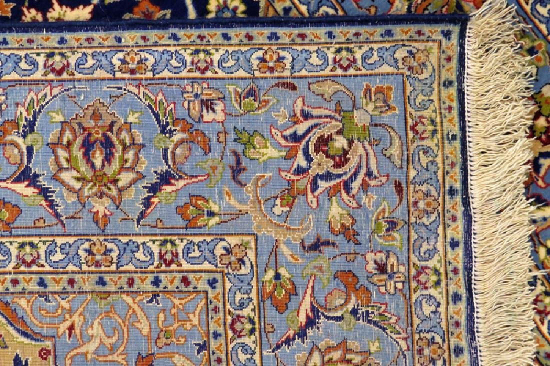 PERSIAN ISFAHAN FINELY WOVEN SILK AND WOOL RUG - 5