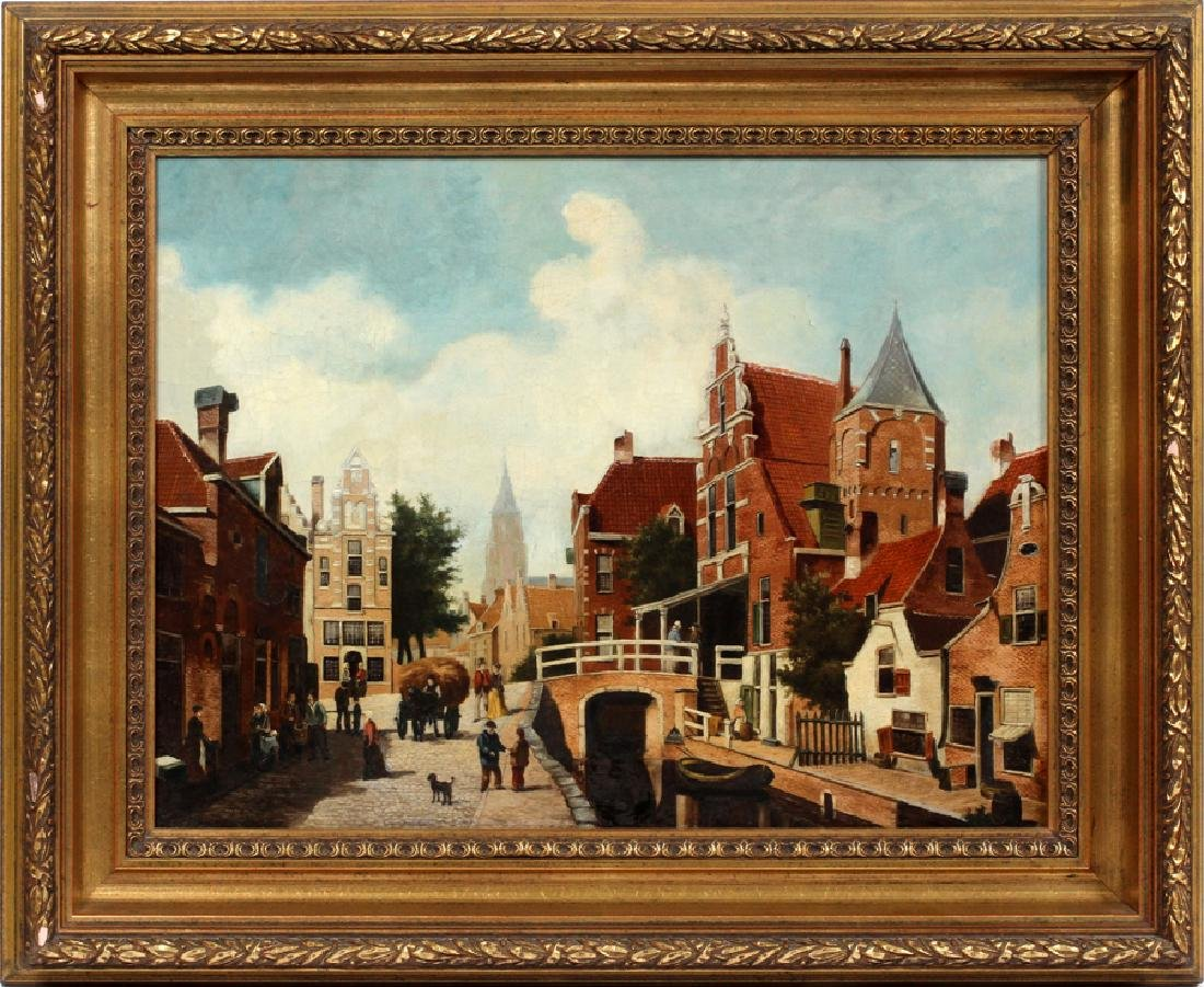 "OIL ON CANVAS, H 19"", W 25"", DUTCH STREET SCENE"