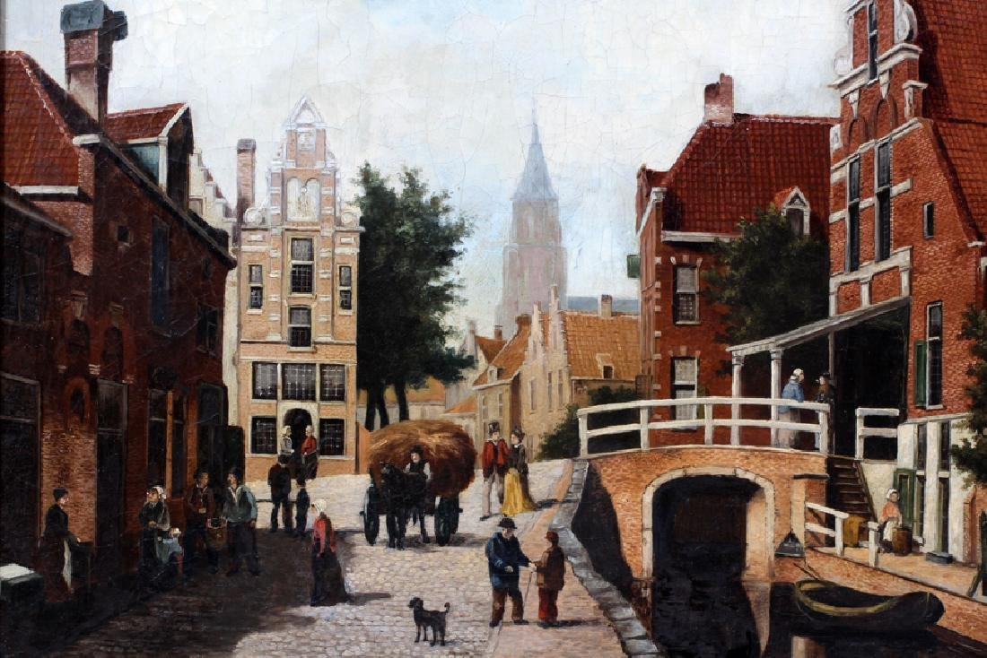 "OIL ON CANVAS, H 19"", W 25"", DUTCH STREET SCENE - 2"
