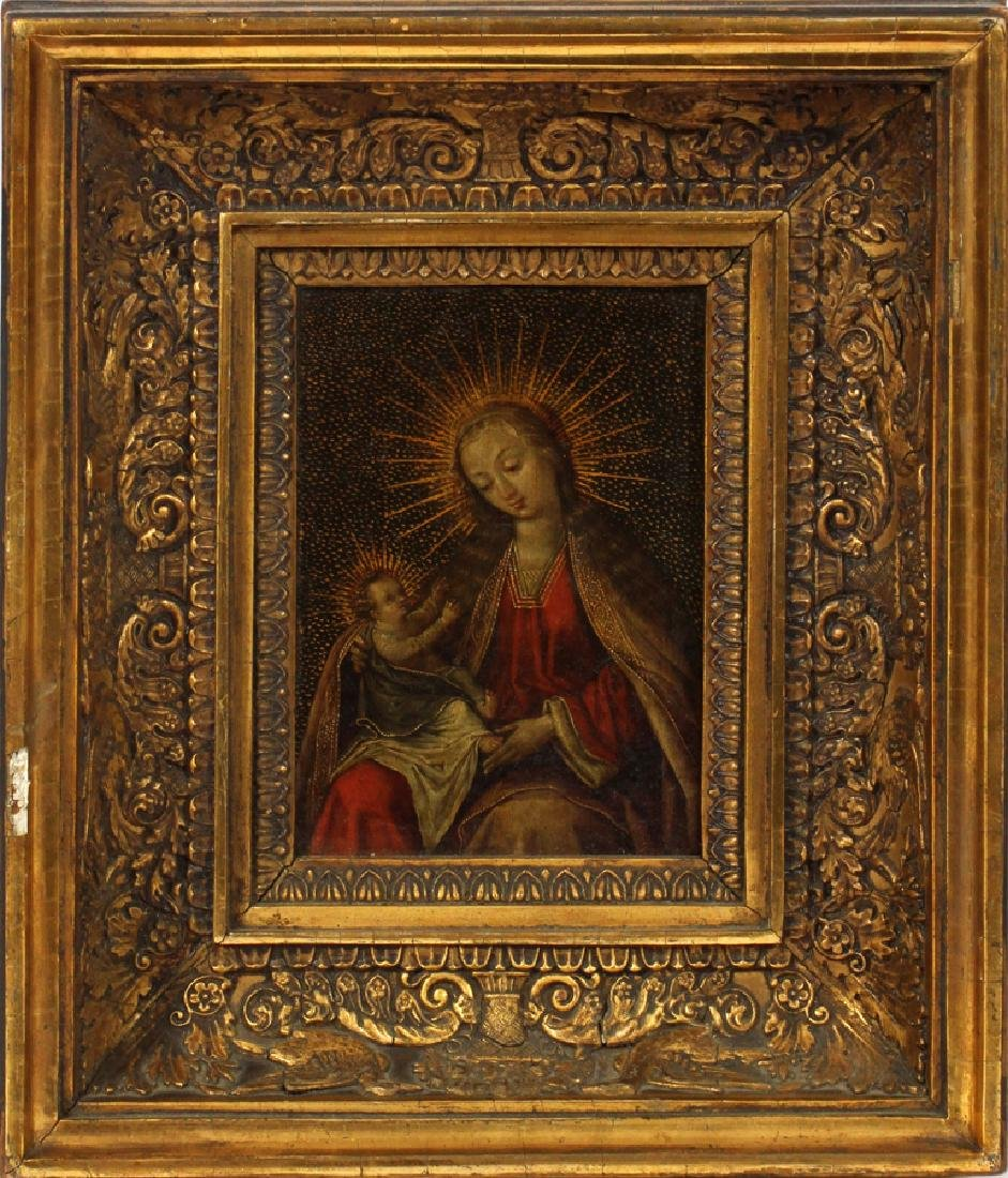 EUROPEAN ANTIQUE OIL ON COPPER MADONNA AND CHILD