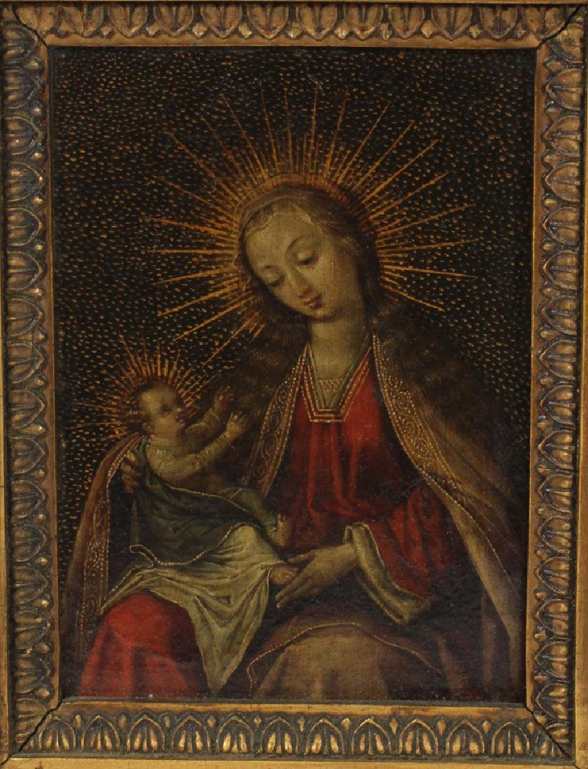 EUROPEAN ANTIQUE OIL ON COPPER MADONNA AND CHILD - 2