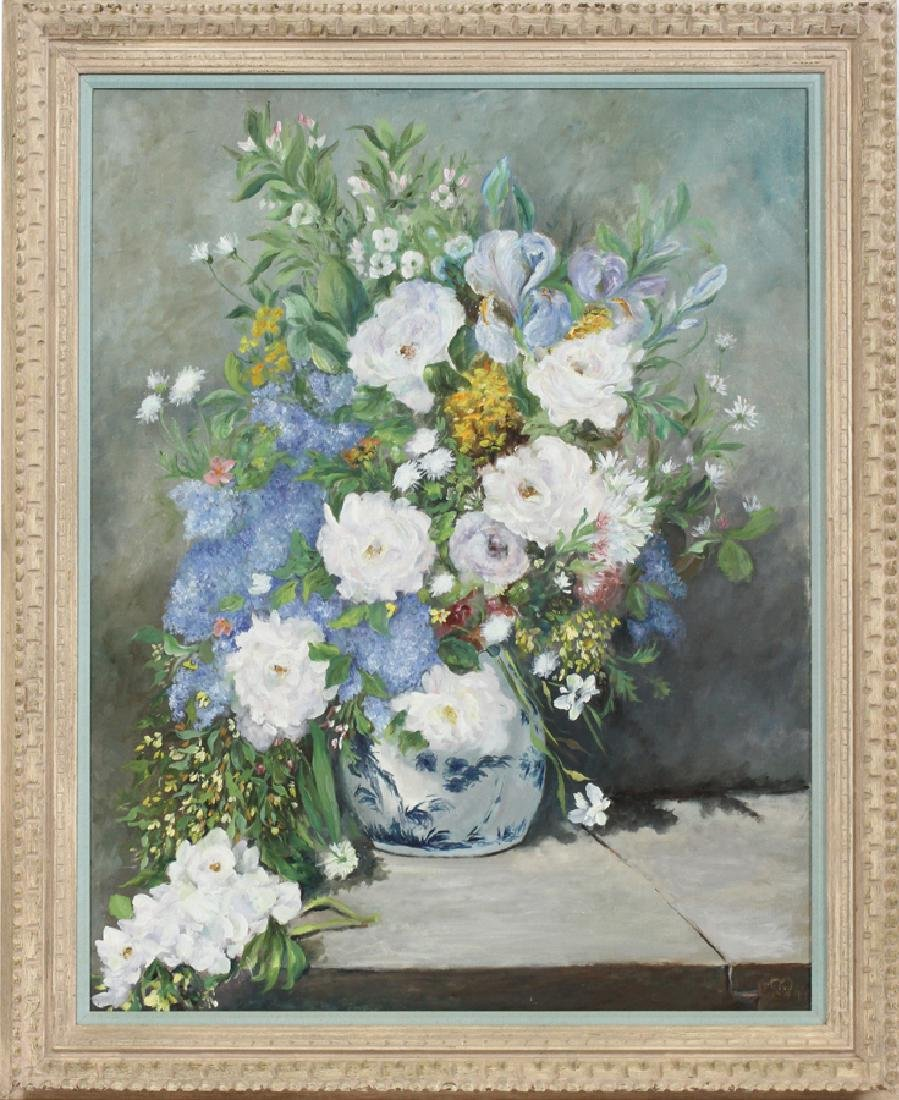 """OIL ON CANVAS, H 39 1/2"""", W 31"""", FLORAL"""
