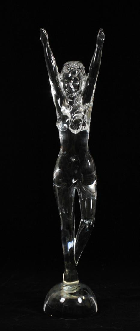 SEGUSO MURANO CLEAR GLASS STANDING FEMALE NUDE