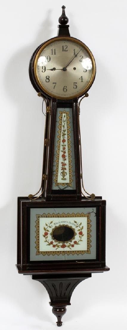S. WILLARD'S PATENT BANJO MAHOGANY CLOCK