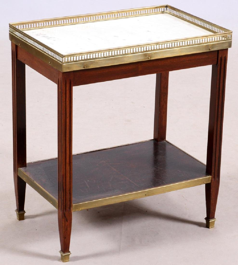 FRENCH MARBLE TOP WALNUT OCCASIONAL TABLE