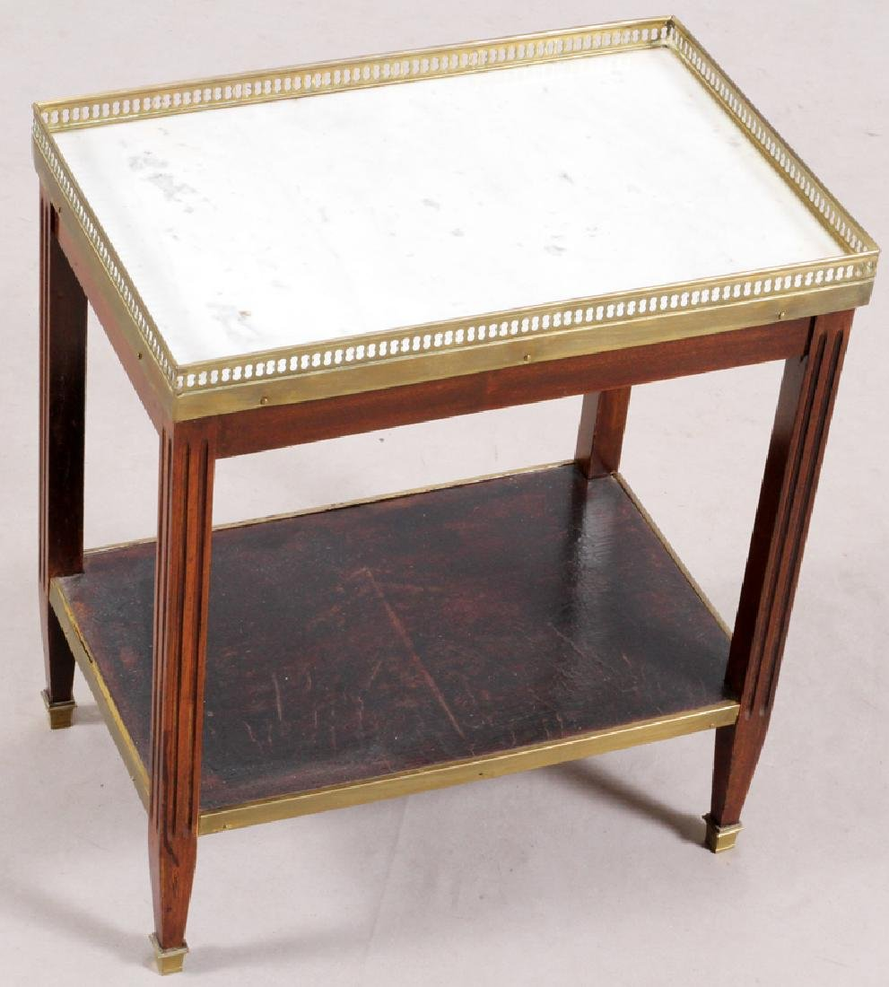 FRENCH MARBLE TOP WALNUT OCCASIONAL TABLE - 2