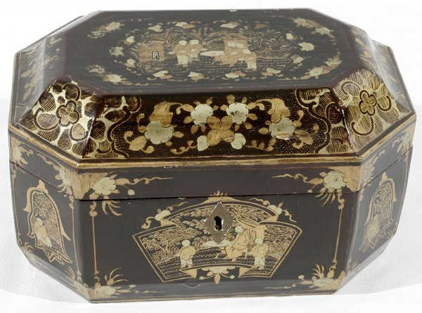 051001: CHINESE EXPORT LACQUERED WOOD TEA CADDY