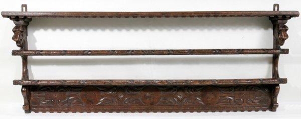 051008: ENGLISH HAND CARVED WALNUT PLATE RACK