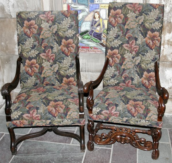 051012: ENGLISH CARVED WALNUT ARMCHAIRS, C.1900, TWO
