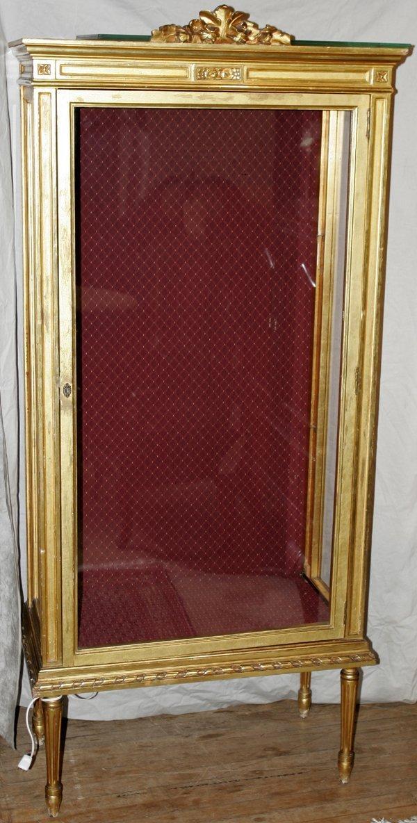 051019: LOUIS XVI STYLE GILT WOOD CURIO CABINET