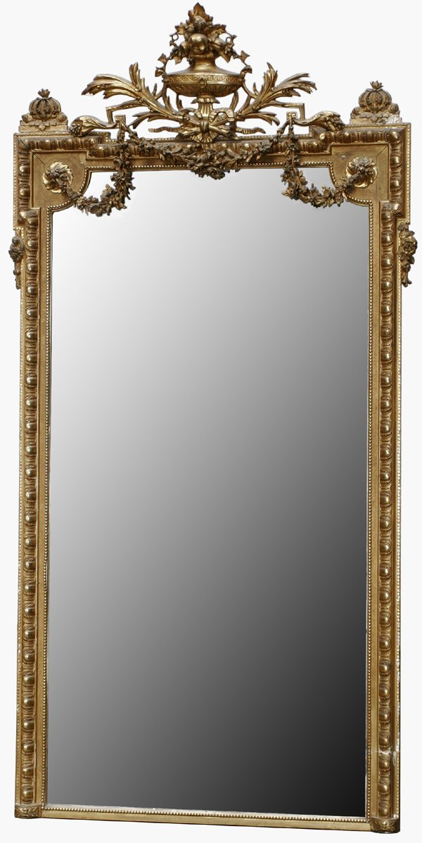 """051020: FRENCH STYLE WALL MIRROR, C.1900, 83""""x45"""""""