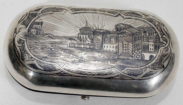051023: RUSSIAN .875 NIELLO SILVER BOX, MOSCOW, 1874