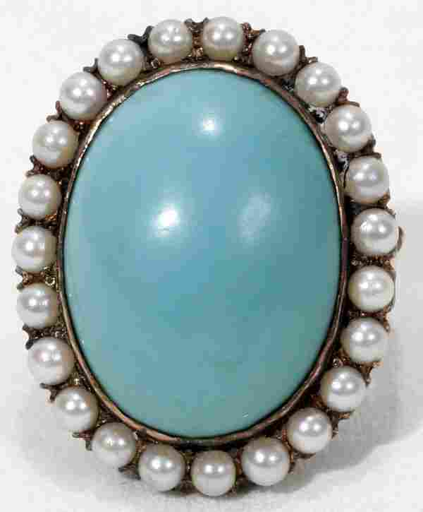 14K GOLD, TURQUOISE & SEED PEARL RING, C.1920