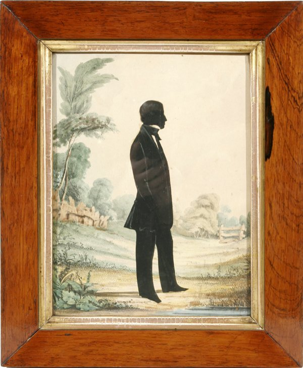 """052010: HAND-COLORED SILHOUETTE, C.1850, 10.5""""x7.8"""""""