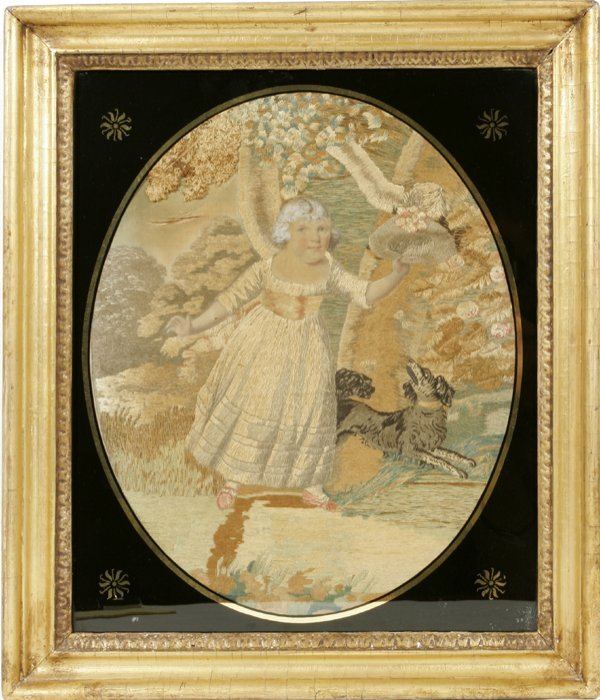 052011: ENGLISH EMBROIDERED SILK PORTRAIT, C.1820