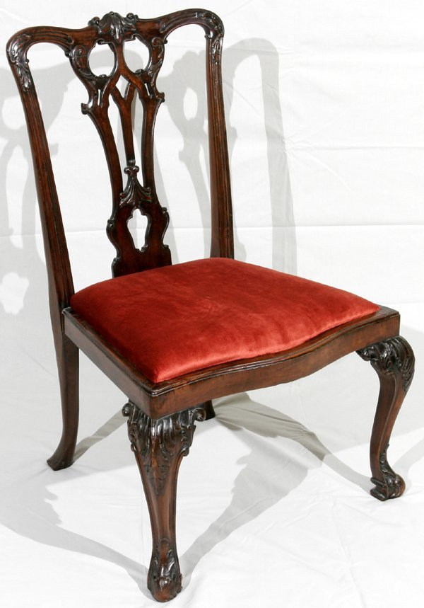 052014: CHIPPENDALE STYLE MAHOGANY SIDE CHAIRS C.1800