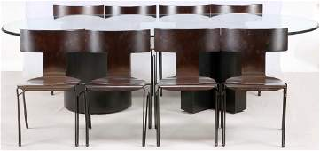 'DONGHIA' GLASS TOP OVAL DINING TABLE & CHAIRS