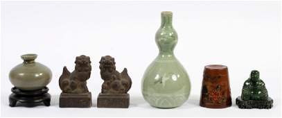 ASIAN CARVED VESSELS BUDDHA FOO DOGS ETC