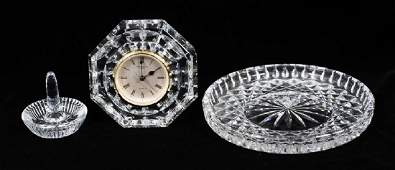 WATERFORD CRYSTAL TRAY CLOCK AND RING HOLDER
