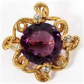 14KT GOLD AND AMETHYST PENDANT