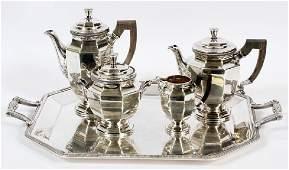 FRENCH CHRISTOFLE SILVER PLATE TEA SERVICE 5 PCS.