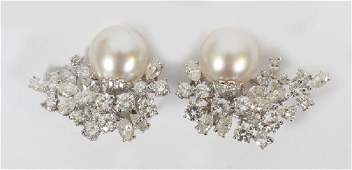 DIAMOND & 13MM PEARL EARRING SET, 25 GRAMS