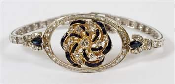 GOLD, DIAMOND, SAPPHIRE & ENAMEL BRACELET