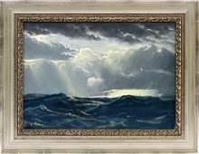 EMILE GRUPPE OIL ON ARTIST ON BOARD SEASCAPE