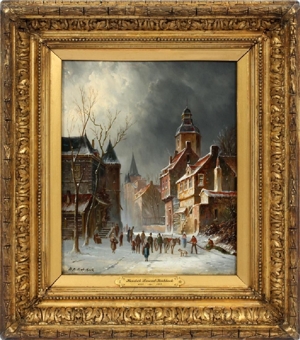 HENDRIK BAREND KOEKKOEK OIL ON BEVELED WOOD PANEL