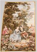 FRENCH WALL TAPESTRY COURTING COUPLE