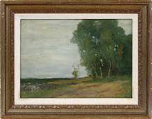 AMERICAN OIL ON BEVELED WOOD PANEL LANDSCAPE