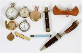 POCKET WATCH, LOCKET & POCKET KNIFE LOT