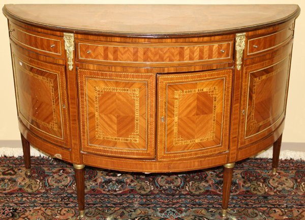 063005: LOUIS XVI STYLE FRUITWOOD DEMI-LUNE COMMODE